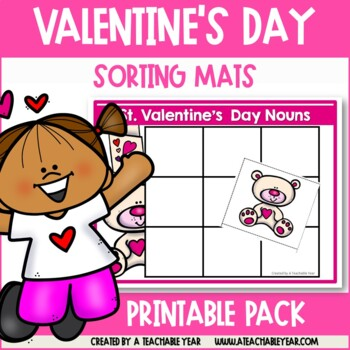 Sorting Mats- Parts of Speech- St. Valentine's Day Edition