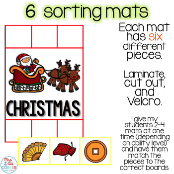 Sorting Mats for Students with Special Needs { WINTER HOLIDAYS - 6 mats }