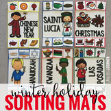 Winter Holiday Sorting Mats [6 mats!] for Students with Sp