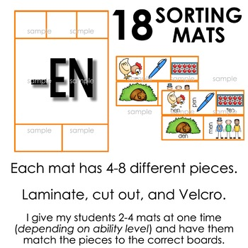 Sorting Mats for Students with Special Needs { WORD FAMILIES - 16 mats }