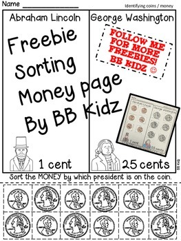 Sorting Money Freebie Kindergarten {President's Day, Coins