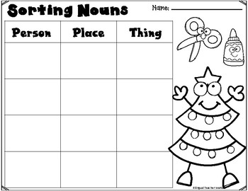 Sorting Nouns Cut and Paste Worksheets