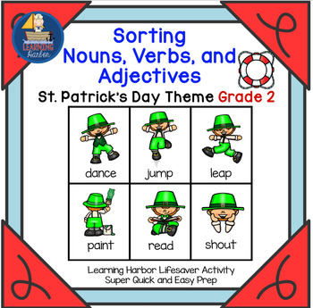 Sorting Nouns, Verbs and Adjectives  St. Patrick's Day Theme Grade 2