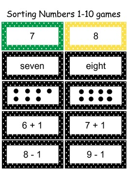 Sorting Numbers Games - Numerals, Arrays, Equations, Word Form