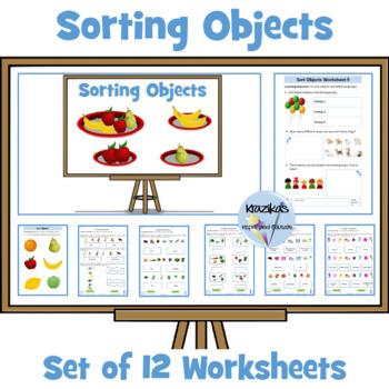 Sorting Objects (Math): Set 0f 12 Worksheets