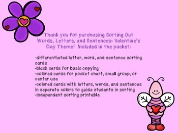 Sorting Out Letters, Words, and Sentences- Valentine's Day Theme