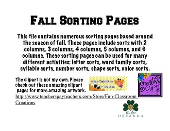 Sorting Pages -Fall Themed