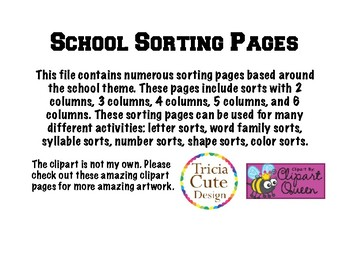 Sorting Pages -School Themed