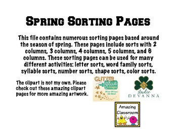 Sorting Pages -Spring Themed