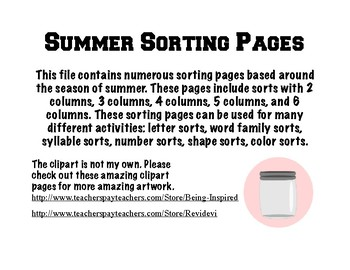 Sorting Pages -Summer Themed