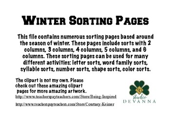Sorting Pages -Winter Themed