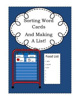 Sorting Picture Word Cards And Making A List~ Pocket Chart