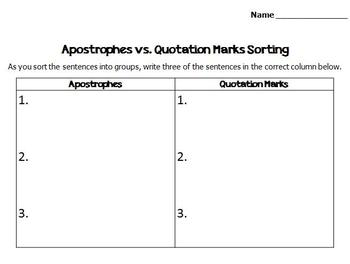 Sorting: Quotation Marks, Commas, or Apostrophes?