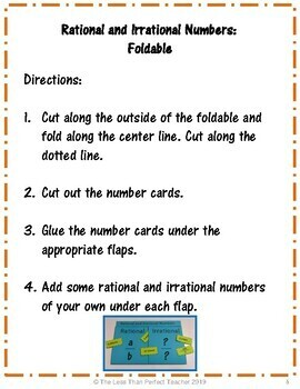 Sorting Rational and Irrational Numbers Foldable