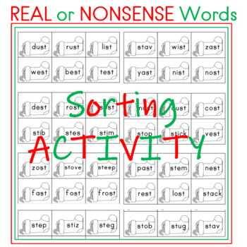 Sorting Real Words and Nonsense Words Christmas Themed