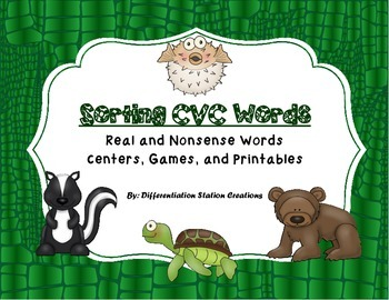 Sorting Real and Nonsense CVC Words: Centers, Games, and Printables