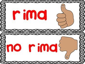 Sorting Rhyming Words in Spanish (Clasificando rimas) Pocket Chart Activity