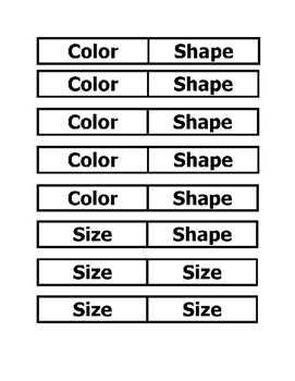 Math VA SOL Sorting - Shape Size Color