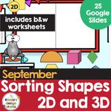 Sorting Shapes 2D and 3D Math Worksheets Google Slide Blended Learning