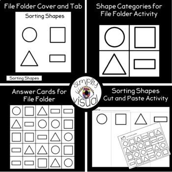 Sorting Shapes File Folder Activity and Worksheet
