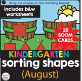 Sorting Shapes Kindergarten Math Worksheets & Boom Cards Blended Learning