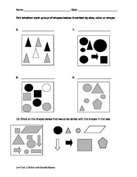 Math VA SOL 1st Sorting Size Shape Color