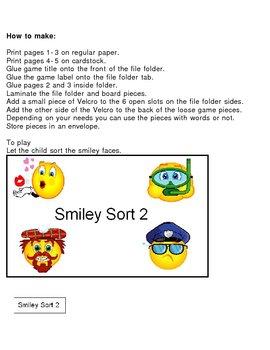 Sorting Smiley Faces Part 2 File Folder Visual Discrimination