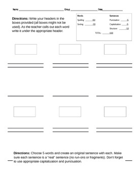 Free - Sorting Spelling Test Template