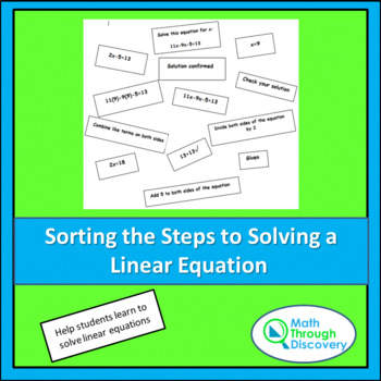 Algebra 1:  Sorting Steps to Solving Linear Equations