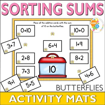 Sorting Sums 1-10 Spring Themed Activity Mats