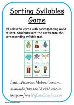 Sorting Syllables Game