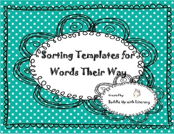 Sorting Templates for use with Words Their Way