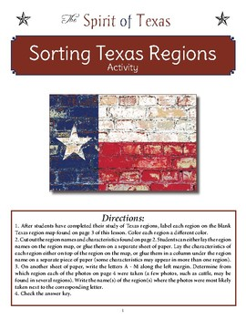 Sorting Texas Regions Activity