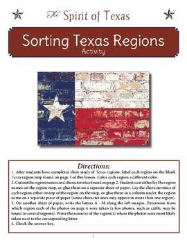 Sorting Texas Regions Activity