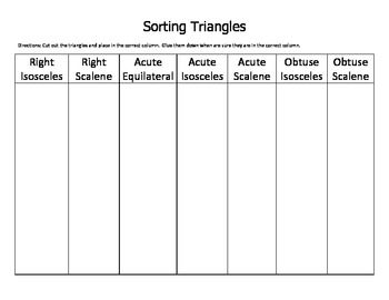 Sorting Triangles by Angles, Sides and Angles and Sides
