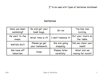 Sorting - Types of Sentences