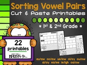 Sorting Vowel Pairs Cut & Paste Printables