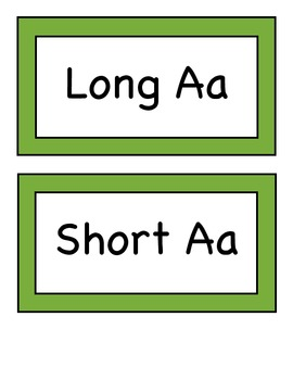 Sorting Vowels - AEIOU Long and Short