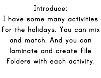 Sorting Winter Holidays for Special Education and Preschool or older