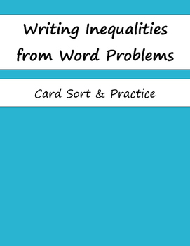 Sorting & Writing Inequalities from Word Problems