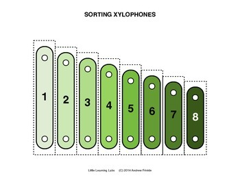 Sorting Xylophones - sort colors numbers sizes musical notes and more
