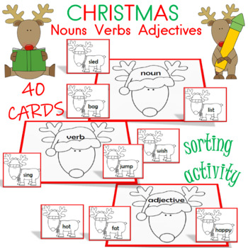 adjectives, nouns, and verb christmas themed center
