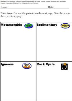 Sorting and Classifying with the Rock Cycle; Cut & Paste; special ed