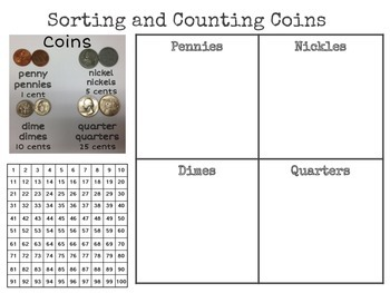 Sorting and Counting Coins Learning Mat
