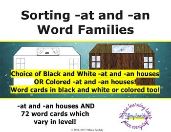 Sorting -at and -an Word Family Game