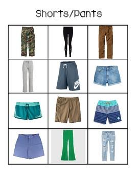 Sorting between shirts and shorts/pants
