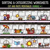 Sorting by Category Worksheets | Cut and Paste Printables | Bundle # 1