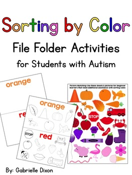 Sorting by Color {File Folder Activities for Students with Autism}