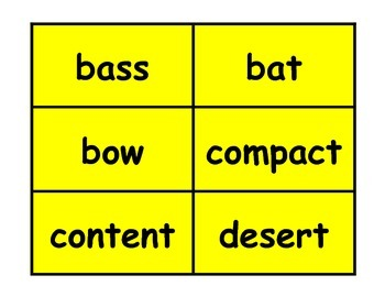 Sorting for Homographs Workstation Game or Small Group Activity