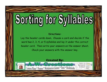 Sorting for Syllables Workstation Game or Small Group Activity